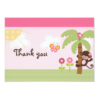 Sunny Safari Girl Monkey Baby Shower Thank You Card