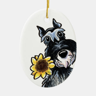 Sunny Schnauzer Classic Personalized Ceramic Ornament