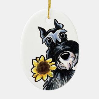 Sunny Schnauzer Classic Personalized Ceramic Ornament