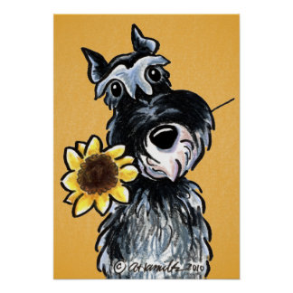 Sunny Schnauzer Sunflower Off-Leash Art™ Drawing Poster
