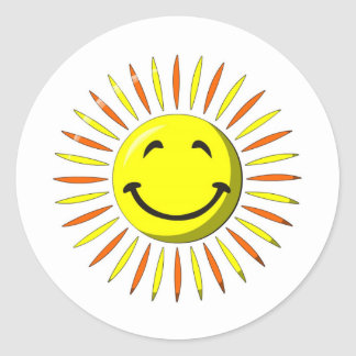 Sunny Smiley Face Classic Round Sticker
