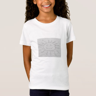Sunny smiley face sunshine drawing on beach sand T-Shirt