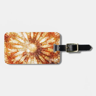 Sunny Star Flower Warm Brown Orange Colors Luggage Tag