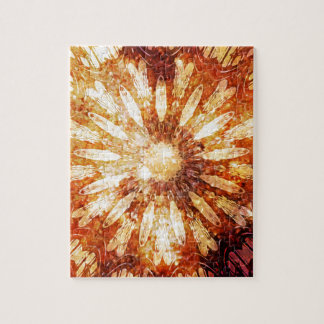 Sunny Star Flower Warm Brown Orange Colors Puzzle