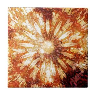 Sunny Star Flower Warm Brown Orange Colors Tiles