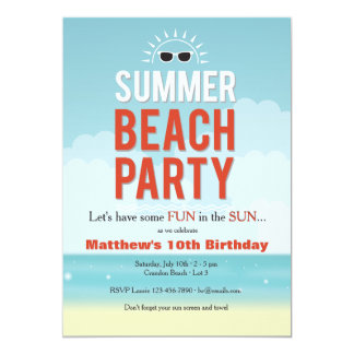 Sunny Summer Beach Party Invitation