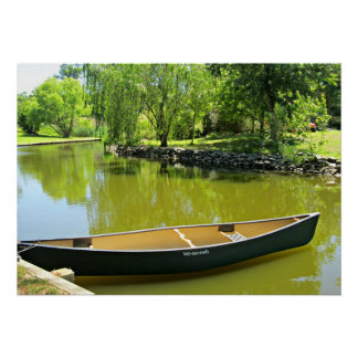 Sunny Summer Day with Canoe on the Water. Poster