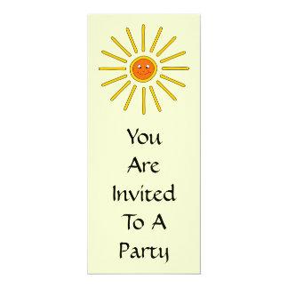 "Sunny Summer Sun. Yellow on Cream. 4"" X 9.25"" Invitation Card"