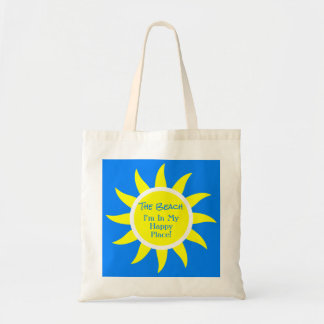 Sunny Sun Happy Place Custom Beach River Lake Blue Tote Bag
