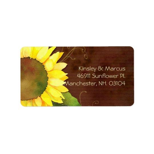 Sunny Sunflower Brown Wedding Return Address Label