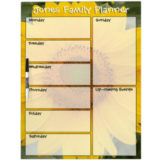 Sunny Sunflower Family Weekly Planner Dry Erase Board