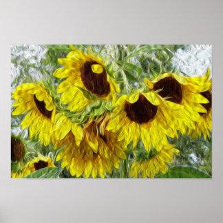 Sunny Sunflower Morn Poster