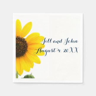 Sunny Sunflower Wedding Paper Napkins