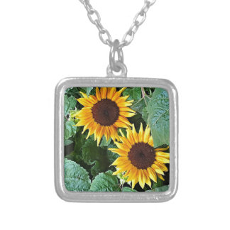 Sunny Sunflowers Silver Plated Necklace