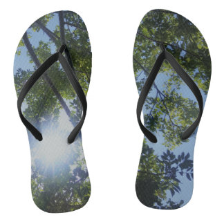 Sunny Trees Nature Print Flip Flops