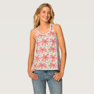 Sunny Tropical Flower All Over Tank Top