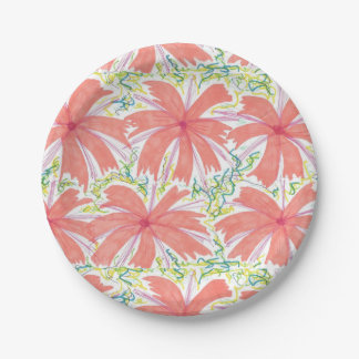 Sunny Tropical Flower Paper Plates
