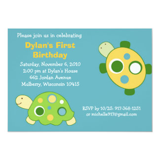 Sunny Turtle Neutral Birthday Invitations
