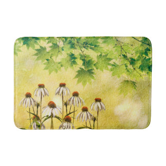 Sunny white cone flowers bath mat
