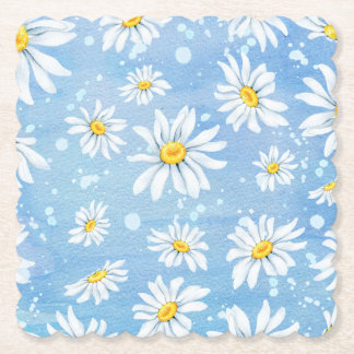 Sunny White Daisies on Blue Paper Coaster