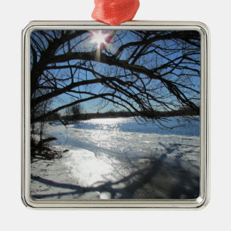 Sunny Winter Day at the River Silver-Colored Square Ornament