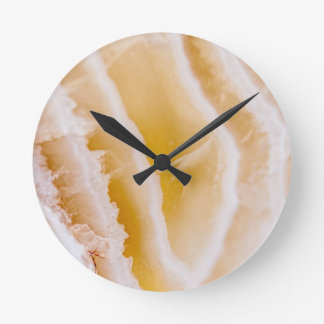 Sunny Yellow Agate Round Clock