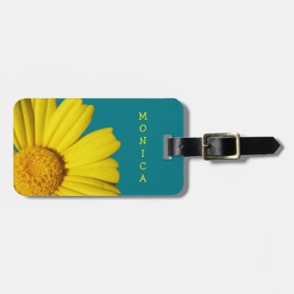 Sunny yellow chamomile luggage tag