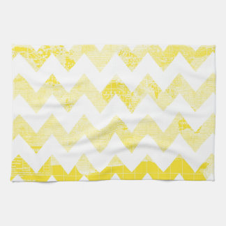 Sunny Yellow Chevrons on a Yellow Map Kitchen Towel