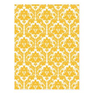 Sunny Yellow Damask Postcard