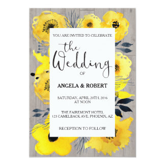 Sunny Yellow Flowers Wedding Invitation