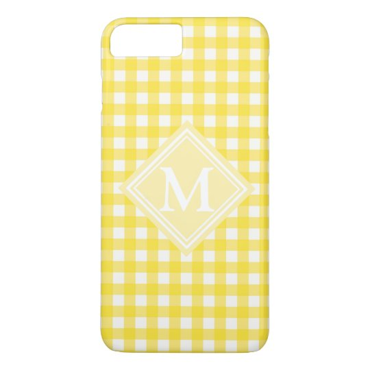 Sunny Yellow Gingham Chequered Pattern Monogram iPhone 8 Plus/7 Plus Case