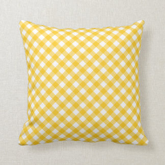 Sunny yellow gingham pattern checkered checkers throw pillow