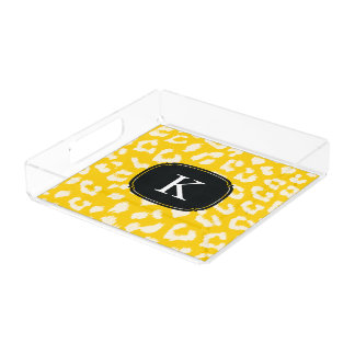 Sunny Yellow Leopard Print Tray with Monogram