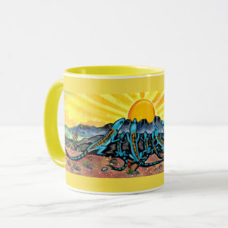 Sunny Yellow Mug,  Blue Lizard Watching Sunrise Mug