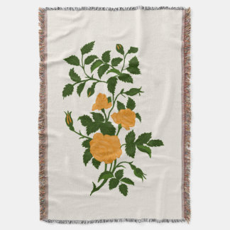 Sunny Yellow Ornamental Roses Throw Blanket