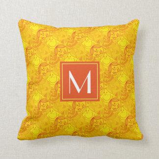 Sunny Yellow Pattern | Monogram Throw Pillow