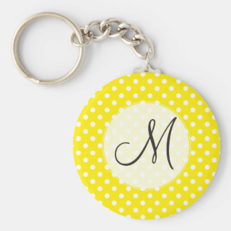 Sunny Yellow Polka Dots Vintage Personalized Basic Round Button Keychain