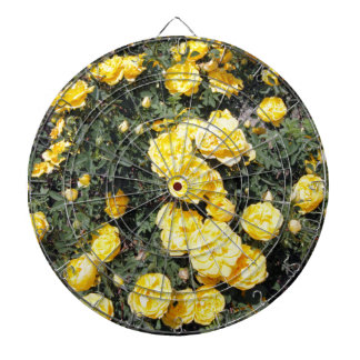 Sunny Yellow Rose Flowers Bus Dartboard With Darts