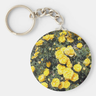 Sunny Yellow Rose Flowers Bus Keychain