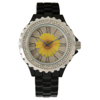 Sunny Yellow Rustic Sunflower Burlap Personalized Watch