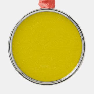 Sunny Yellow Silver-Colored Round Ornament