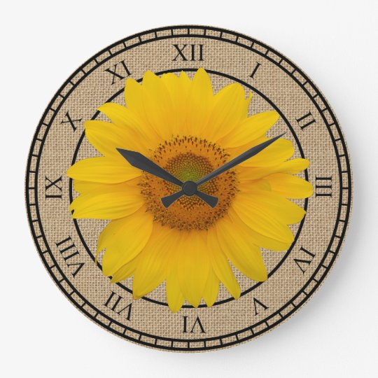 Sunny Yellow Sunflower Rustic Round Wall Clock