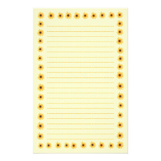 Sunny Yellow Sunflowers Border Lined Stationery