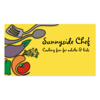 Sunny yellow vegetable cooking utensils biz cards business card templates
