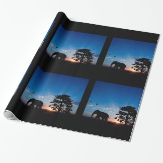 Sunrise and Elephant on the Plains Wrapping Paper