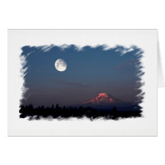 Sunrise and Moonrise over Mount Rainier Notecard