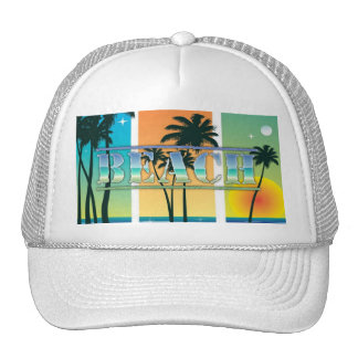 Sunrise and Palm Trees Sparkle Beach Hat