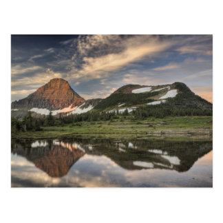 Sunrise and reflection, Glacier National Park, Postcard