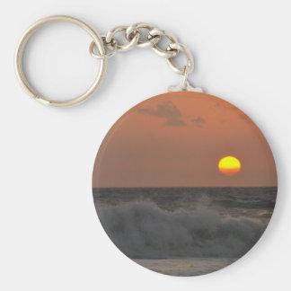 Sunrise and Waves Basic Round Button Keychain