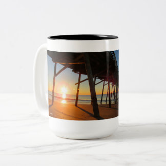 Sunrise at Bogue Inlet Pier Two-Tone Coffee Mug